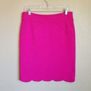 carmen marc valvo pink scallop hem pencil skirt